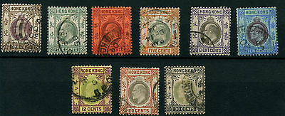 Hong Kong SG62-70 1903 Wmk Crown CA P14 1c to 30c (9 values) Used