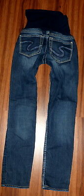 Womens Silver A Pea In The Pod Skinny Full Panel Maternity Jeans Size 29 Ankle