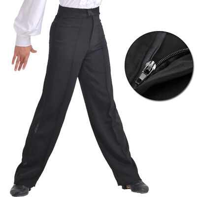 Men Jazz Latin Salsa Dance Pants Smooth Competition Ballroom Black Trousers Show