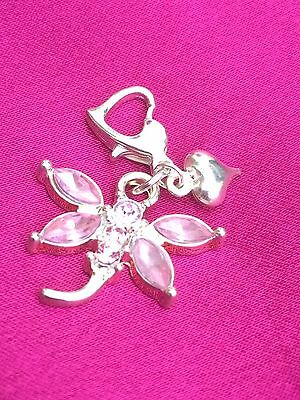 Rhinestone Dragonfly And Heart Clip On. Bracelet Or Purse. Gift. Christmas.
