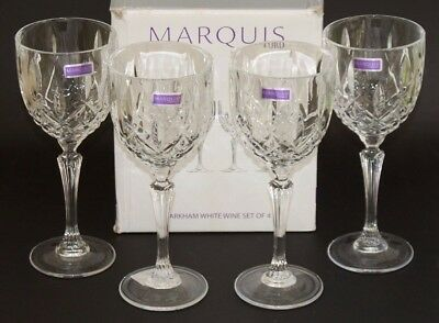 Waterford Marquis Crystal ~ Markham Cut ~ Set Of Four White Wine Glasses ~NEW