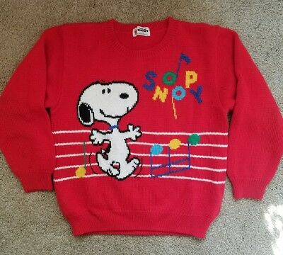 Vintage Snoopy Peanuts Music Sweater For Child S M L Kitsch Red HTF