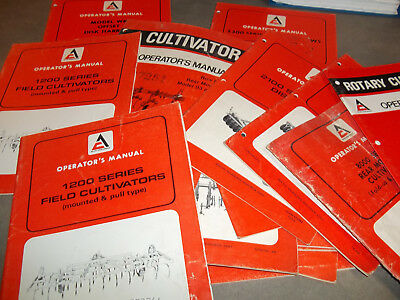ALLIS-CHALMERS OPERATOR'S MANUALS Disk Harrows, Cultivators, etc. Lot of 24