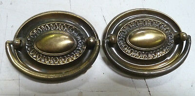 2-Antiqued Finish Stamped Steel Chippendale Style Drawer Drop Bail Pull Handle