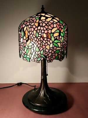 "Gorgeous Tiffany Style Stained Leaded Glass Pendant Cherry Tree 20"" Lamp & Base"