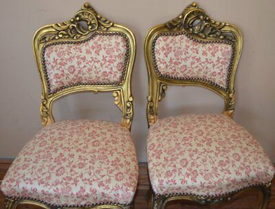 Antique Pair of French Carved Chairs