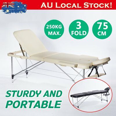 Portable Aluminium Massage Table 3 Fold Beauty Therapy Bed Chair Waxing 75cm WER