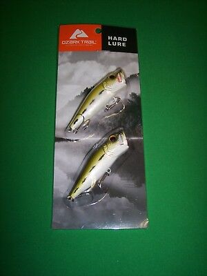 Bass Fishing Top Water Popper Crankbait Baby Bass & Pearl - Ozark Trail 2 Pc Set