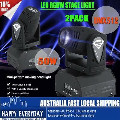 2PCS 50W RGBW 4IN1 LED Moving Head Light DMX DJ Club Disco Stage Party Christmas
