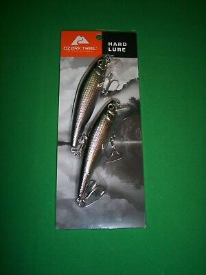 Bass Fishing Long A Jerkbait Crankbait Black & Chrome - Ozark Trail 2 Piece Set