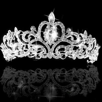 New Princess Austrian Bridal Crystal Wedding Hair Tiara Crown Prom Veil Headband