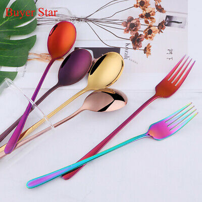 2x Korean Stainless Steel Long Handle Dinner Fork Spoon Set Flatware Suit Adult