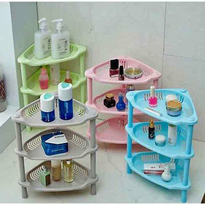 3Tier Plastic Corner Shelf Organizer Kitchen Bathroom Shower Storage Holder Rack