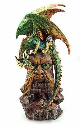 Dragon Guarding Castle LED Man Tree Statue Figurine Ornament Sculpture BIG 31 cm