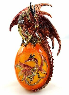 Dragon on Egg Ornament LED Statue Figurine Sculpture Light Up BIG *23 cm*