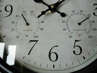 Vintage look Lincoln Weather Station Temperature & Humidity 30cm   Black