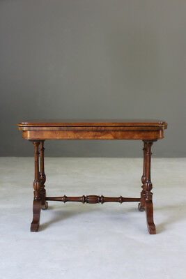 Antique Victorian Burr Walnut Games Card Occasional Tablec