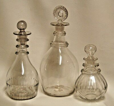 3 - Antique 18th Century Georgian Clear Blown Glass Ringed Neck Decanter Bottles