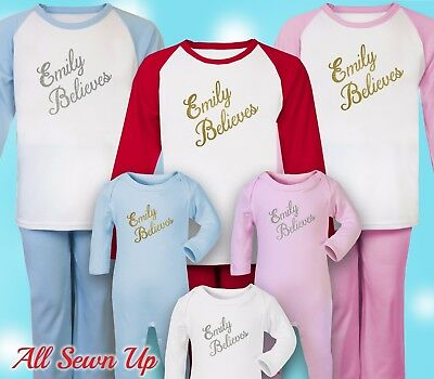 Personalised Christmas Pyjamas - 100% cotton xmas gift. Christmas eve - Text