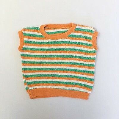 Vintage Terry Terrycloth Irish 70s Striped Vest 18 24 Months 2T 3T FREE SHIPPING