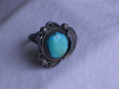 Vintage Sterling Silver & Turquoise Ladies Ring Jewelry sz 6 (id513)