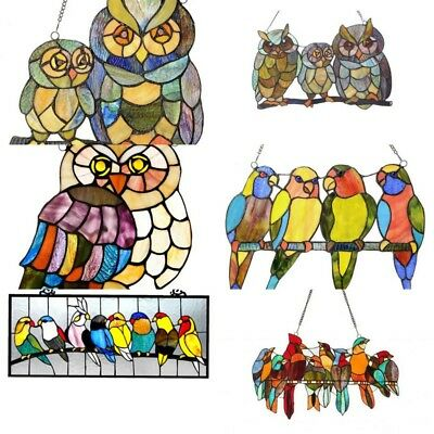 colorful owls and various birds stained art glass hanging window panel