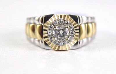 14K Two-Tone Gold Mens Solitaire Diamond 1.15 Ct Engagement Wedding Band Ring
