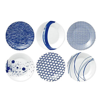 Tapas Plates 6.3 Inch Blue Set of 6 Royal Doulton Pacific Dinnerware Plates