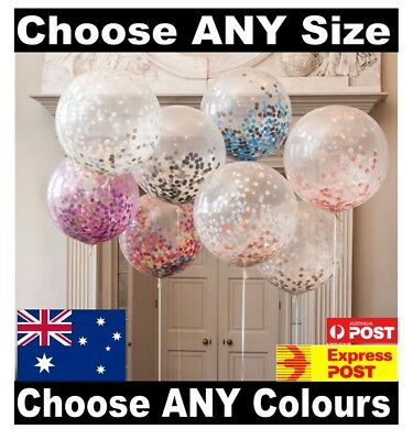 GIANT CLEAR CONFETTI BALLOONS Any Size / Colour 1st 18th Birthday Wedding Round
