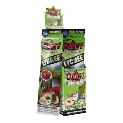 Full Box (25 x 2) JUICY JAYS BLUNT Paper Lychee Double Wraps Rolling Papers