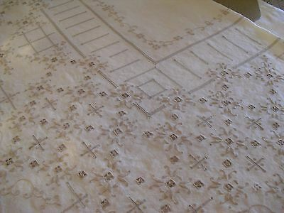 Antique Embroidered linen tablecloth