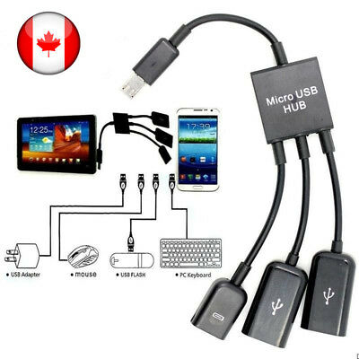 3 in 1 Male to Female Micro USB 2.0 Power Charging Host OTG Hub Cable Adapter