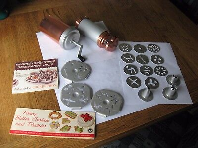 Lot of 21 Vintage Mirro Dial a Cookie Aluminum Cookie Press & Discs Manuals USA