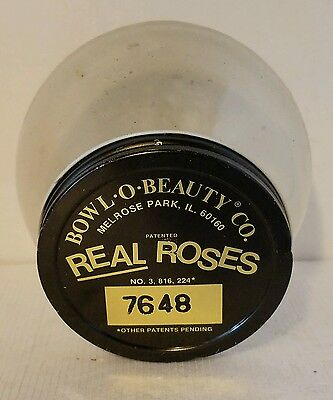 Vtg round dome glass jar. Bowl-O-Beauty Co. Real Roses jar 7648