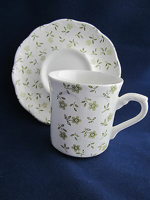 Vintage J & G Meakin England Forget Me Not Green Flat Cup & Saucer
