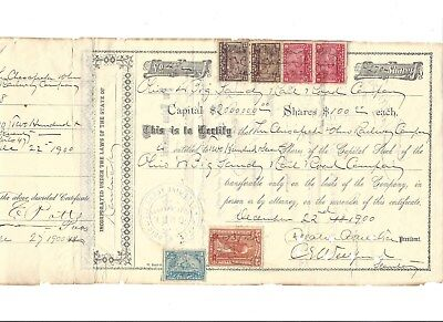 Ohio and Big Sandy Railroad Co. Stock Certificate issued to C&O -1900