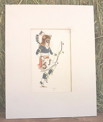 Paul Vigil Tesuque Pueblo New Mexico  Usa Buffalo Dancer Watercolor