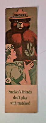 """1964 USDA Forestry Book Mark~""""SMOKEY BEAR"""" Don't Play with MATCHES 6 """" RULER"""