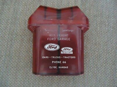 Vtg Ford Tractor Advertising Salt & Pepper Shaker~Roy Feight~Clyde, Kansas