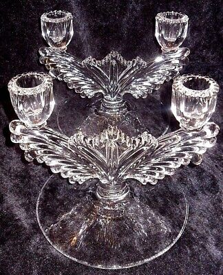 """VINTAGE Set of 2 Clear GLASS Pillar Decorative CANDLE HOLDERS 7""""x6"""" CANDELABRA"""