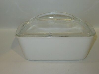 Vintage WESTINGHOUSE Milk Glass White Refrigerator Loaf Dish with Glass Lid-EUC