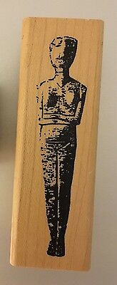 Halloween Scary Mummy Realistic Ancient Egyptian Statue Wood Rubber Stamp X Rare