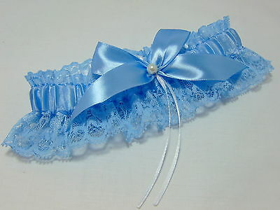 blue lace wedding garter. Read to ship.toss. bride.something blue