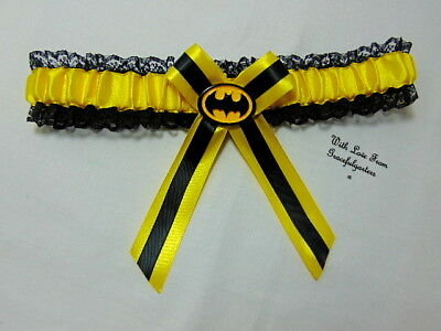 Yellow Batman Lace Bridal Wedding Garter. Suicide Squad.