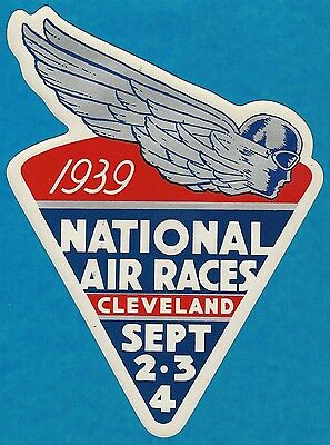 """Vintage 1939 """"national Air Races"""" Art Deco Decal Art Cleveland Ohio Leisy's Beer"""