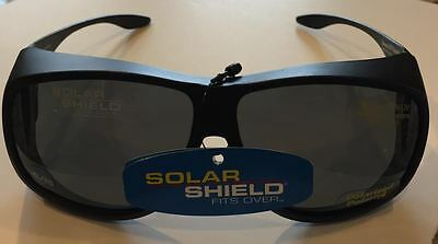 Solar Shield Polarized Fits Over - Classic - Black Frame W/ Gray Lens - Size Xl