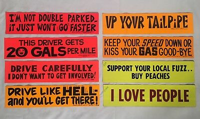 Lot Of (8) NEW Vintage 1970s Bumper Stickers Blacklight I Love People NOS