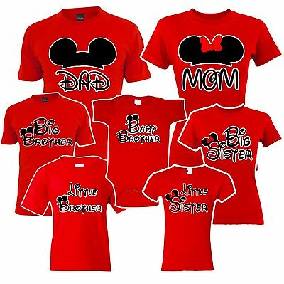 Mom Dad Sister brother Baby Mickey Family Matching RED T-shirts. Disney Vacation