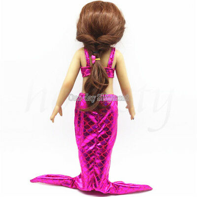 Rose Red Mermaid Dress Clothes for 18 inch American Girl Our Generation Doll