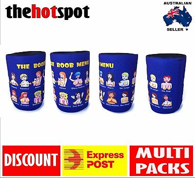 Boob Menu STUBBY HOLDER Beer Cooler Father* Dad* Australia Day Topless Breast*